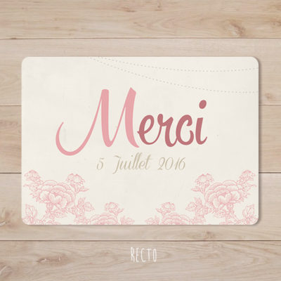 remerciements mariage retro champetre rose