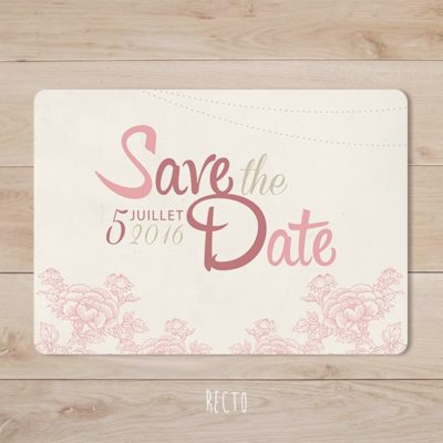 save the date mariage retro champetre rose