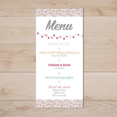 menu mariage fanion liberty eloise rose retro