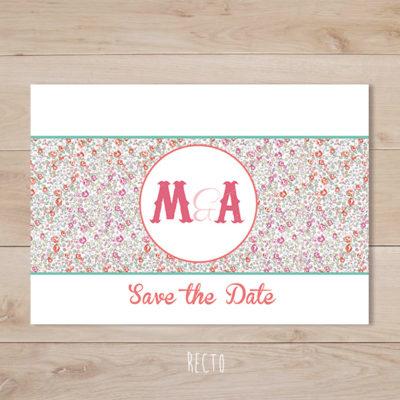 save the date mariage fanion liberty eloise retro