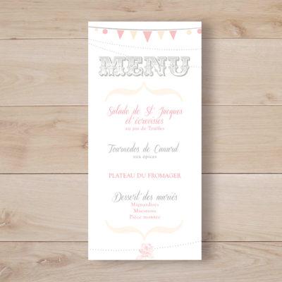menu mariage romantique mini fanions