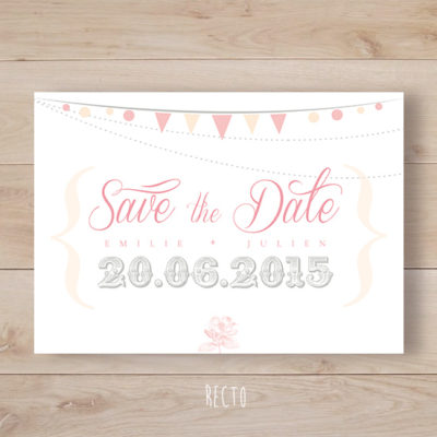 save the date mariage romantique mini fanion