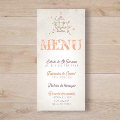 menu mariage cage a oiseaux retro champetre