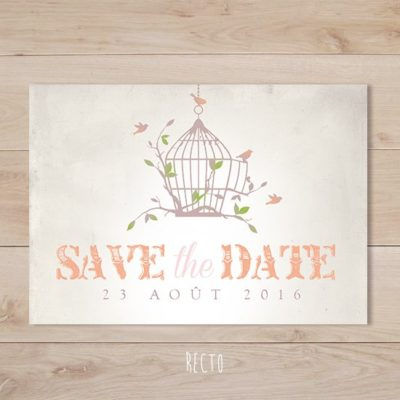 save the date mariage cage a oiseaux retro champêtre corail