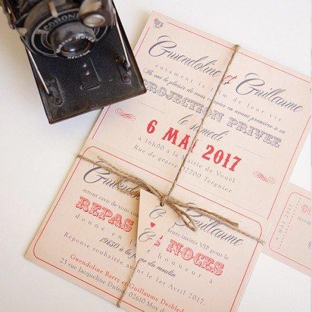 faire-part-mariage-cinema-vintage-fond-kraft-retro-typo-letterpress-toile-de-jute
