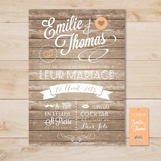 Fabuleux Faire part mariage vintage retro wood bois | Sweet Paper TT37