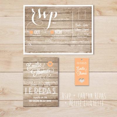 faire part de mariage vintage wood fond bois