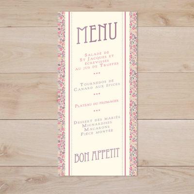 menu mariage love liberty fairford rose violet