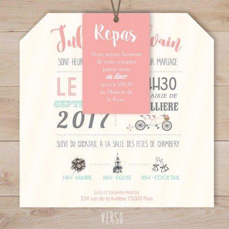 fairepart-mariage-retro-vintage-champetre-velo-tandem-corail-rose-vert-menthe