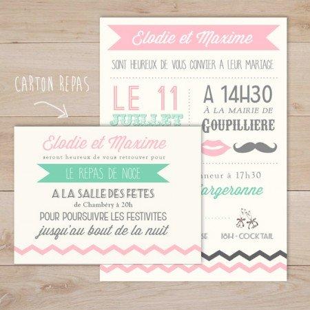fairepart-mariage-rose-vert-mint-chevron-letterpress-vintage