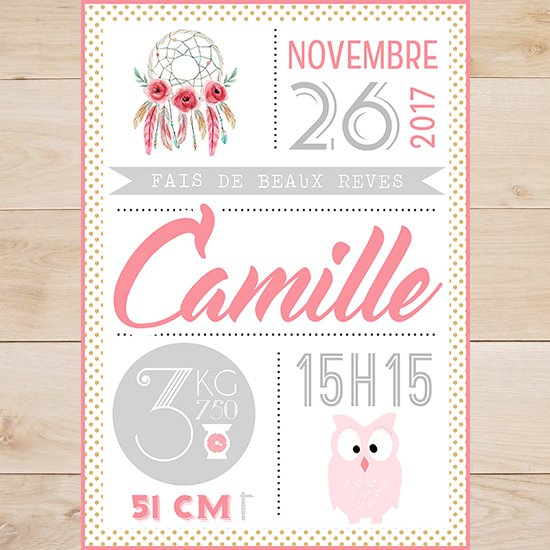 Affiche Statistique Naissance Personnalisee Sweet Paper