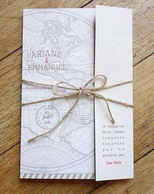 fairepart-mariage-vintage-voyage-mappemonde-kraft-tampon-visa-avion