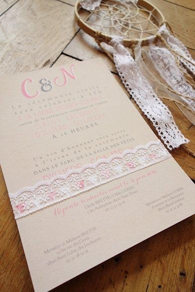 fairepart-mariage-vraie-dentelle-champetre-kraft-retro-rose
