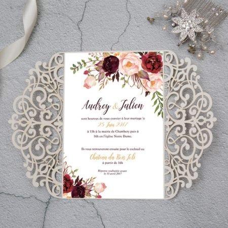 faire-part-mariage-cisele-sur-mesure-decoupe-laser-cut-dentelle-gold-or-paillete-glitter-dore-argent-romantique-chic-dorure-flerus