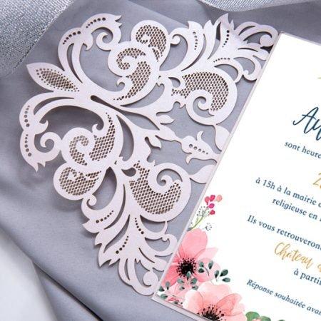 faire-part-mariage-cisele-sur-mesure-decoupe-laser-cut-dentelle-rose-poudre-argent-gris-romantique-glamour-elegant-chic