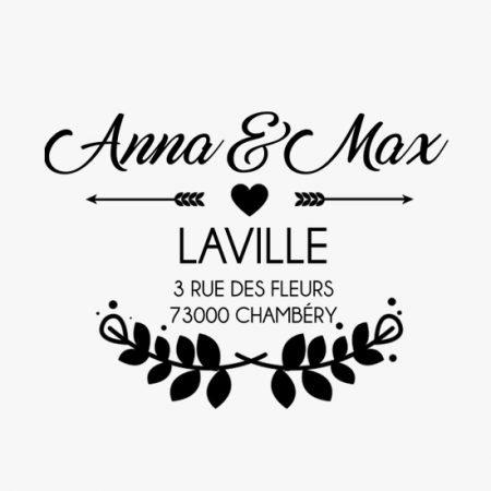 tampon-mariage-personnalise-sur-mesure-adresse-champetre-couronne-fleurs