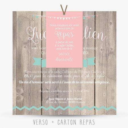 faire-part--mariage-retro-champetre-vintage-wood-fond-bois-fanions-chevrons-mint-vert-menthe-rose-poudre-peche-corail-blush