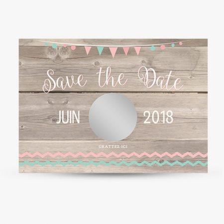 save-the-date-pastille-a-gratter-mariage-retro-champetre-vintage-wood-fond-bois-fanions-chevrons-mint-vert-menthe-rose-poudre-peche-corail