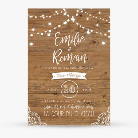 faire-part-mariage-retro-guirlande-lumineuse-bois-champetre-dentelle-guinguette-rustique