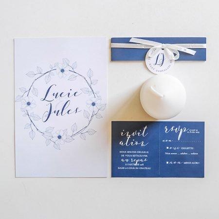 faire-part-mariage-sur-mesure-personnalise-chambery-creatrice-couronne-fleur-dessins-blanc-gris-bleu-marine-navy2