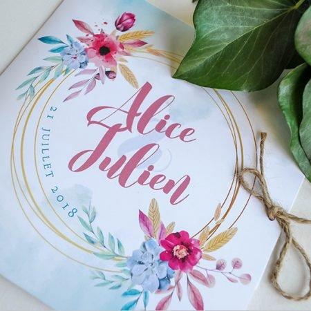 faire-part-mariage-sur-mesure-personnalise-chambery-creatrice-fleurs-aquarelles-rose-bleu-fuschia-mint-couronne