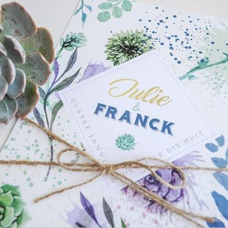 faire-part-mariage-sur-mesure-personnalise-chambery-creatrice-plantes-vegetal-succulentes-violet-or-vert-mint