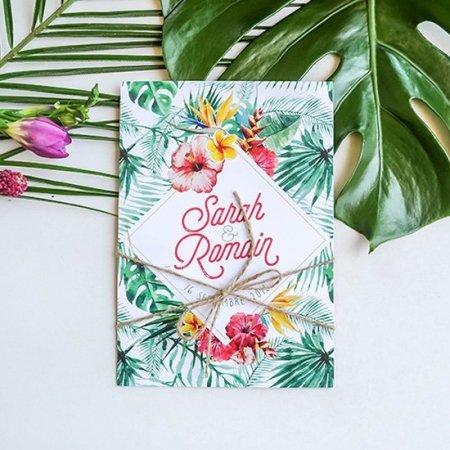 faire-part-mariage-sur-mesure-personnalise-chambery-creatrice-tropcial-exotique-monstera-palmier-orchidee-hibiscus-plumeria-oiseau-paradis