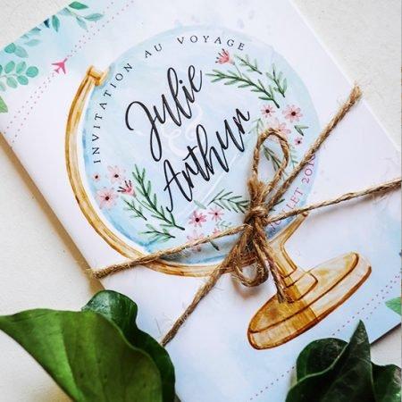 faire-part-mariage-sur-mesure-personnalise-chambery-creatrice-voyage-retro-boheme-romantique-mappemonde-aquarelle-globe-planisphere-watercolor-bleu-rose