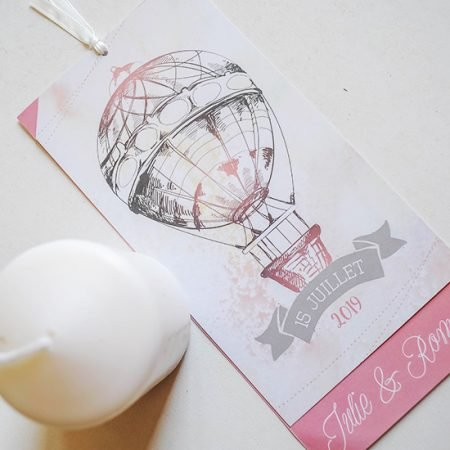 faire-part-mariage-sur-mesure-personnalise-chambery-creatrice-voyage-vintage-retro-mongolfiere-rose-gris-blanc