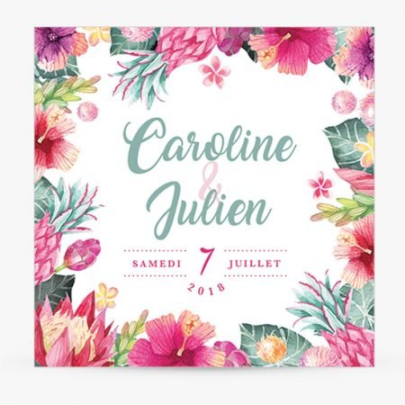 faire-part-mariage-tropical-exotique-annanas-rose-fuschia-mint-vert-deau-prothea-hibiscus
