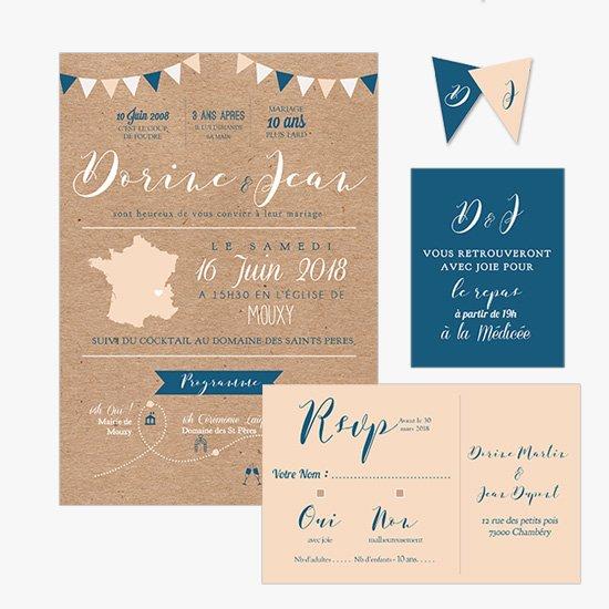 Audacieuse faire part mariage guinguette kraft fanion | Sweet Paper YA-31