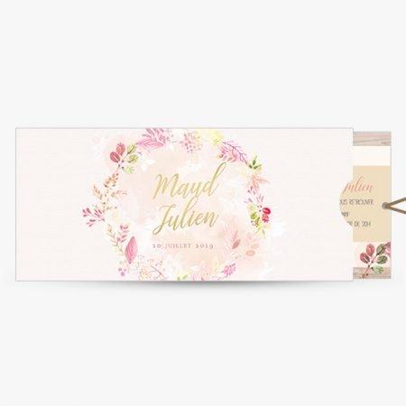 faire-part-mariage-pochette-couronne-fleurie-aquarelle-watercolor-bois-flotte-pastel-romantique-champetre-rose-jaune-vert-or