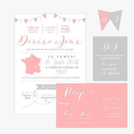 faire-part-mariage-rose-gris-baker-twine-retro-romantique-mini-fanion-typographie-programme
