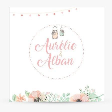 faire-part-mariage-champetre-pochette-kraft-fleurs-aquarelle-mint-rose
