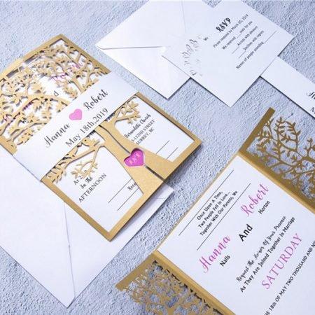 faire-part-mariage-pochette-cisele-decoupe-laser-cut-arbre-irise-nature-champetre-campagne-or-coeur-fuschia
