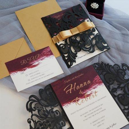 faire-part-mariage-pochette-cisele-decoupe-laser-cut-elegant-glamour-chic-noir-bordeaux-burgundy-aquarelle-marbre-dore-or-WPL0175