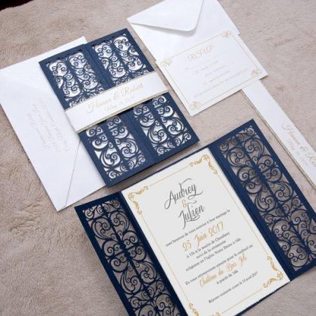 faire-part-mariage-pochette-cisele-decoupe-laser-cut-oriental-glamour-dore-porte-bleu-fonce