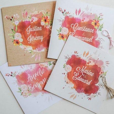 faire-part-mariage-personnalise-sur-mesure-aquarelle-kraft-colore-romantique