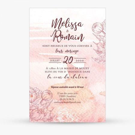 faire-part-mariage-sur-mesure-personnalise-aquarelle-rose-romantique-fleurs-pastelles-peche-saumon