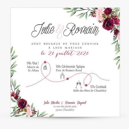 faire-part-mariage-sur-mesure-personnalise-couronne-feuillage-champetre-chic-fleurs-aquarelle-marsala-burgundy-bordeaux-programme-picto