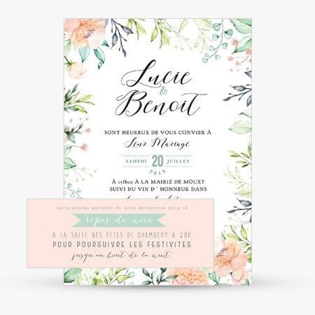 faire-part-mariage-sur-mesure-personnalise-fleurs-fleuri-pastelle-feuillage-nature-aquarelle-peche-rose-mint-vert-carton-repas