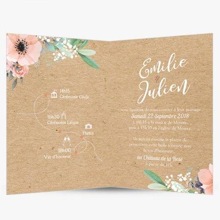 faire-part-mariage-sur-mesure-personnalise-kraft-champetre-fleurs-aquarelles-rose-peche-gypsophile-feuillage-olivier-pastel-vegetal