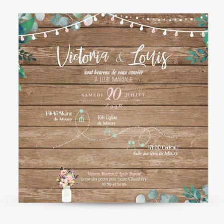faire-part-mariage-sur-mesure-personnalise-retro-fond-bois-wood-nature-champetre-feuillage-fanion-guinguette-guirlande-rose-vert