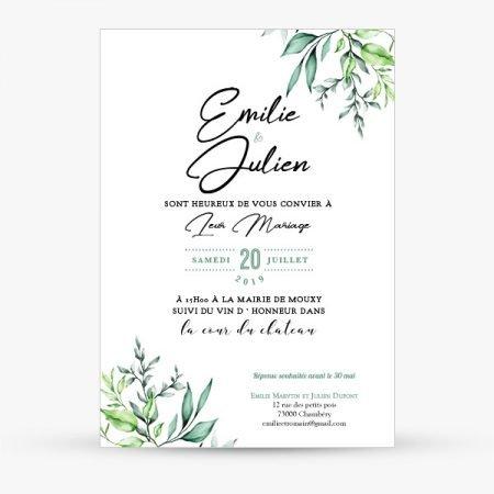faire-part-mariage-sur-mesure-personnalise-vegetal-greenery-feuillage-nature-vert-blanc-or